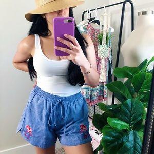 Jade Melody Tam Denim Style Embroidery Boho Shorts
